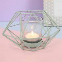 Metal Pastel Mint Green Geometric Design Candle Tea Light Holder